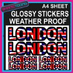 LONDON UNION JACK FLAG GRAPHICS CAR BUMPER WEATHER PROOF STICKERS MIXED SIZES
